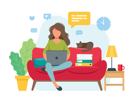 Illustration of women working at home