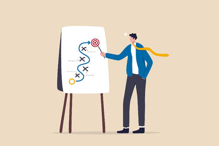 Illustration of man creating a marketing strategy